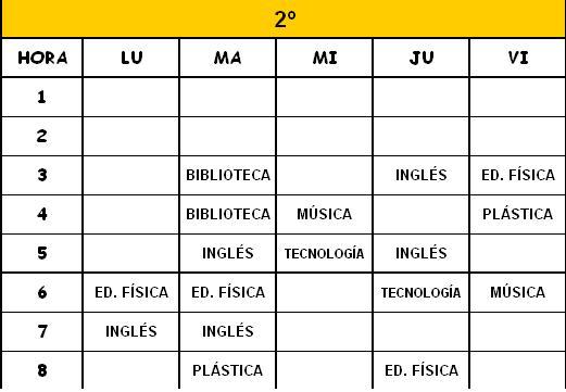 2º - HORARIOS DE MATERIAS CURRICULARES