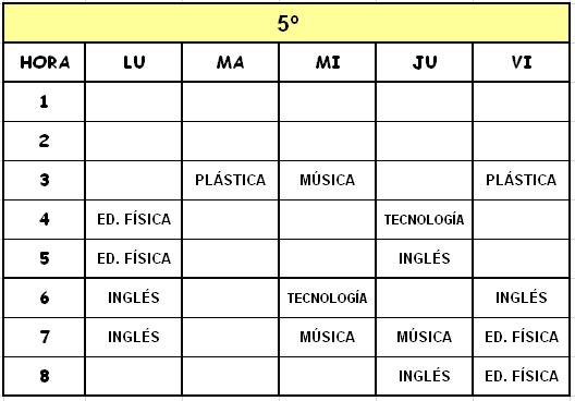 5º - HORARIOS DE MATERIAS CURRICULARES