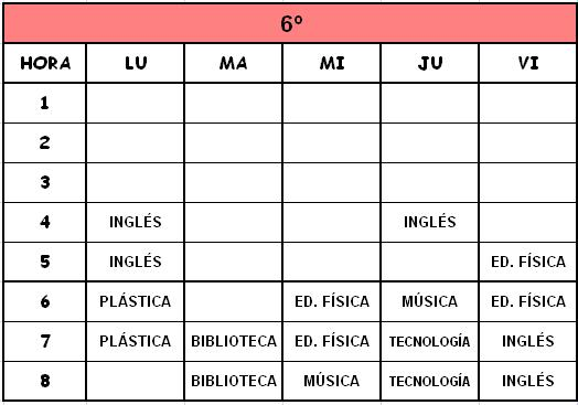 6º - HORARIOS DE MATERIAS CURRICULARES
