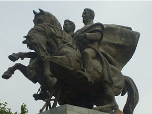 Monumento a San Martín y O´Higgins en los llanos del Templo Votivo de Maipú, Chile