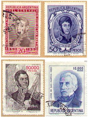 Estampillas postales con el retrato del General San Martín